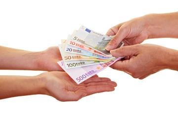 Hände fordern Geldscheine