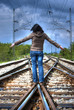 girl on railroad (HDR image)
