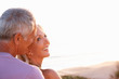 Romantic Senior Couple in love at sunset