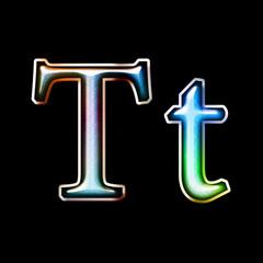 Glass alphabet symbol with metal element