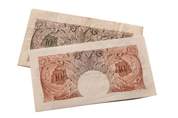 Reverse side of discontinued ten shilling notes