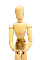 Manichino con monete