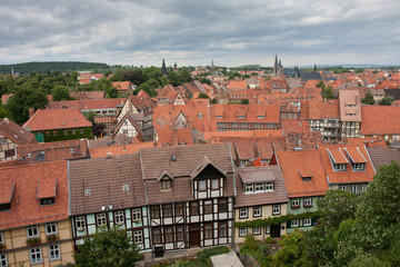 Aerial view of Quedlinburg, a medieval city of Germany