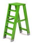 Green ladder on a white background