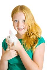 Teen girl with rabbit