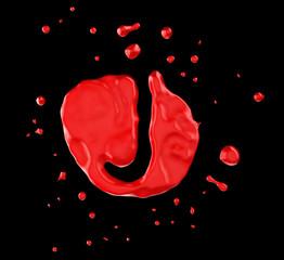 Red blot J letter over black background