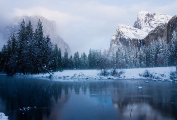 Yosemite Valley after sunset in winter