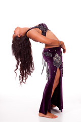 Young belly dancer in backbend