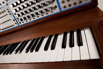 Keyboard view of vintage analog synthesizer