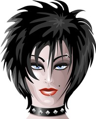 Viso Ragazza Moda Gotica-Gothic Fashion Girl's Face-Vector