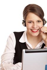 glücklich lachende Call center Frau telefoniert mit headset