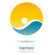 Logo  swimming in the sea