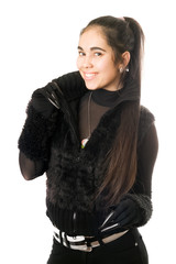 Portrait of playful young woman in gloves