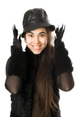 Portrait of cheerful girl in gloves with claws. Isolated