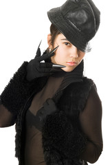 Portrait of beautiful girl in gloves with claws