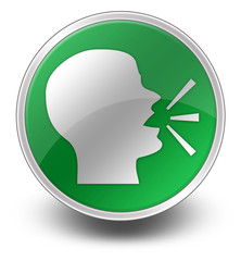 """Green Glossy Icon """"Talking Head / Discussion / Forum"""""""