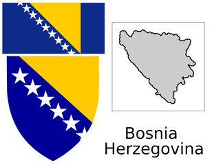 Bosnia Herzegovina flag national emblem map