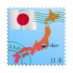 Tokyo - capital of Japan. Vector stamp