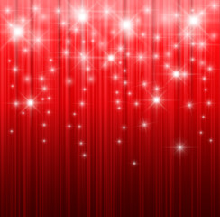 Red Christmas background with magic stars.