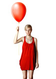 blonde in red dress with the balloon