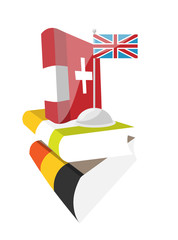 European Day of Languages. Books and flag A