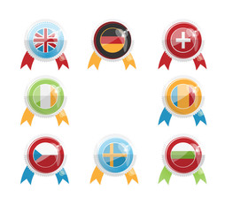 European Day of Languages. Badges and flags A