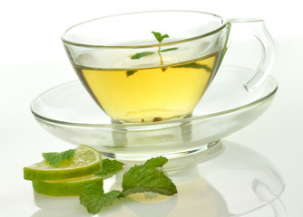 green tea with lime and mint