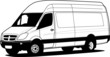 Delivery van hand draw illustration, vector