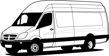 Delivery van hand draw illustration, vector