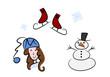 Clipart-Set: Winter (Schneemann, Schlittschuhe, Kind)