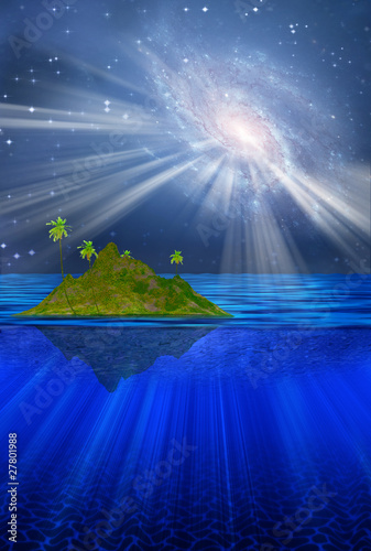 High Resolution 3D Floating Tropical Island