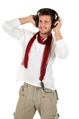 Young caucasian man, music listening