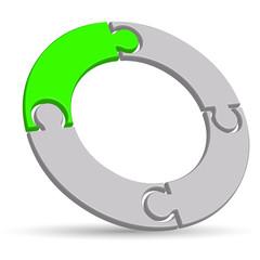 3D Circular Jigsaw Logo