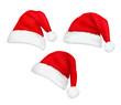 Three red santa hats. Vector.