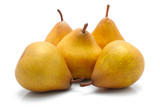 Yellow ripe pears isolated on white