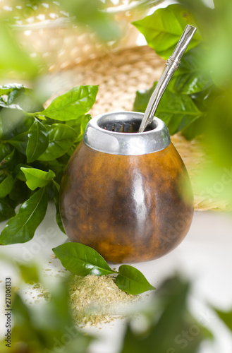 Yerba mate isolated on white background