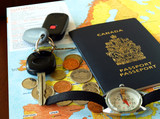 Canada passport with travel necessities on the map poster