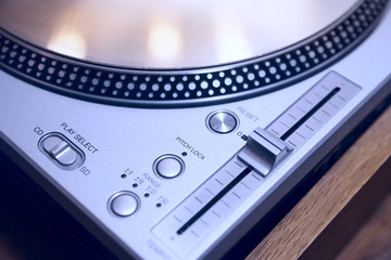 DJ turntable close-up