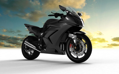 superbike on white background and sky