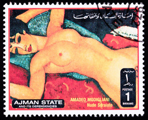 Ajman Stamp Painting Amadeo Modigliani Reclining Nude Sdraiato