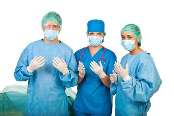 Surgeons  prepare for surgery