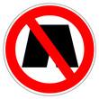 Panneau interdit aux shorts de bains