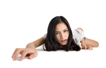 woman crawling on all fours