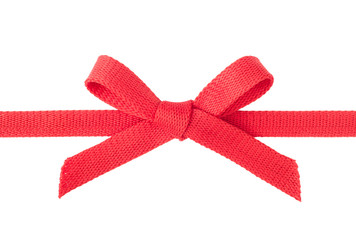 Red ribbon with a bow isolated on white