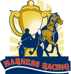 'Harness racing' with gold cup logo