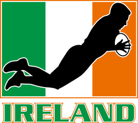 rugby player diving try ireland flag