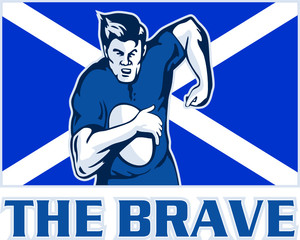 rugby player running ball scotland flag the brave