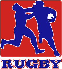 rugby player running fending tackle