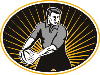 rugby player passing ball