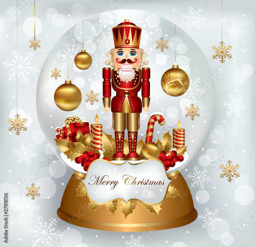 Christmas snowglobe with Nutcracker